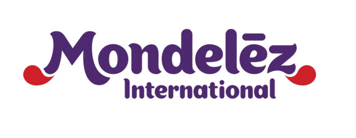 Mondelez International corporate logo with title of company written purple against a white background.