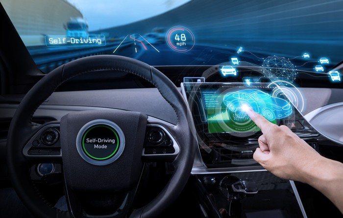 """Vehicle cockpit and screen with an overlay of detected vehicles and a label indicating """"Self-Driving"""" mode"""
