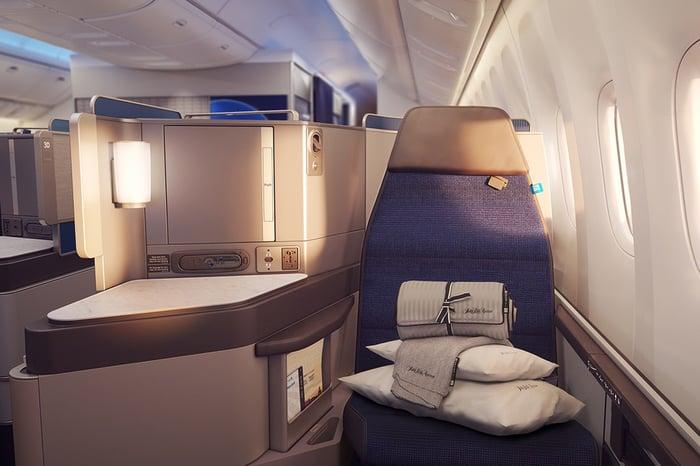 A Polaris business class seat on a 777-300ER