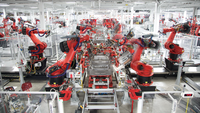Vehicles being produced at Tesla's Fremont factory