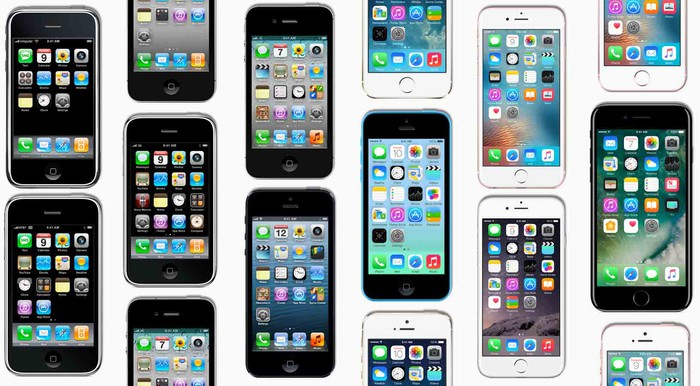 "Apple's iPhones in a ""mosaic.""."