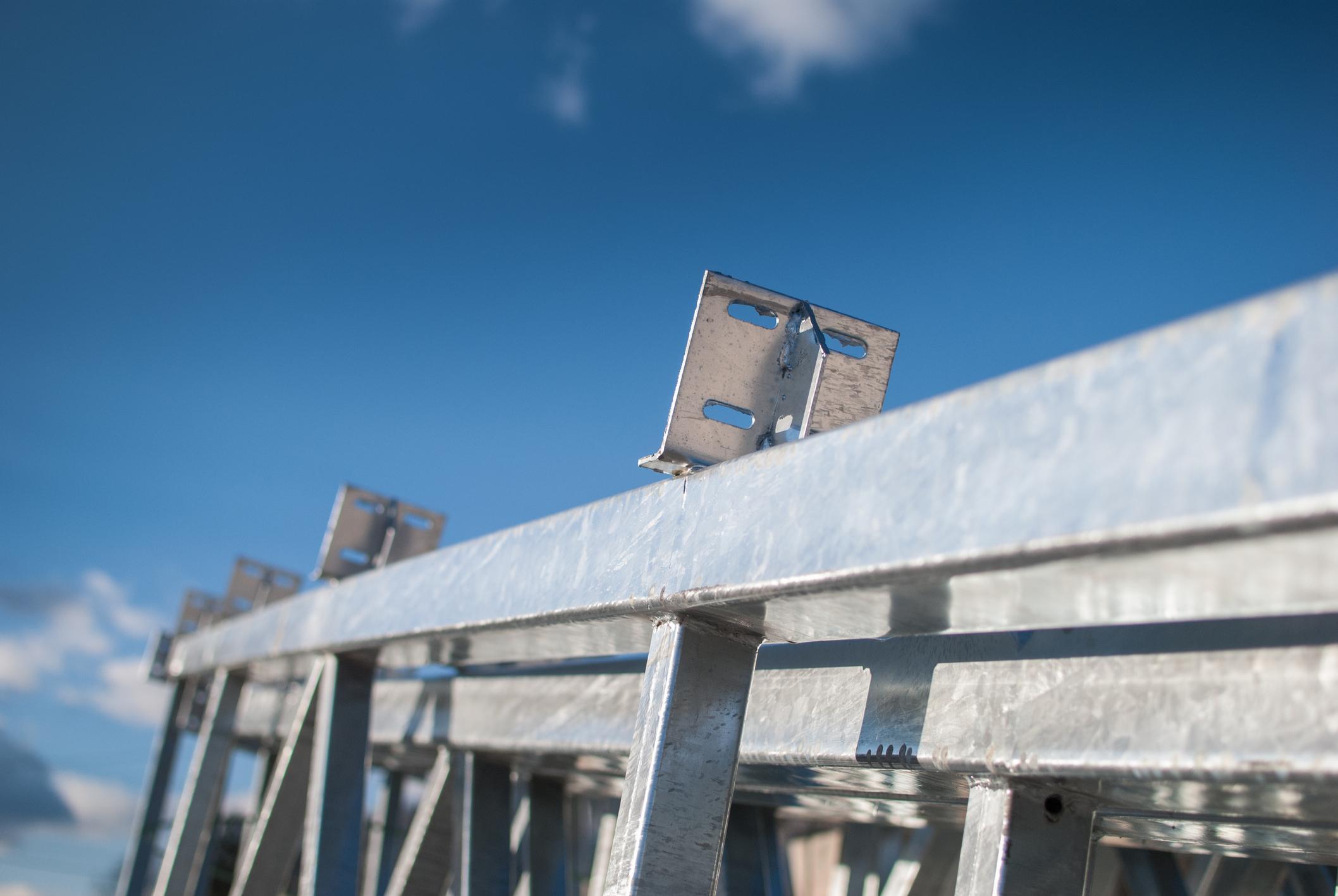 A galvanized steel frame.