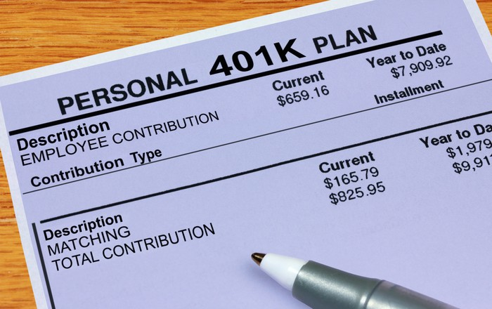 A pen sits atop a 401(k) plan statement on a table.