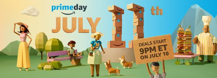 An animated graphic of people in the park with a Prime Day announcement in the background.