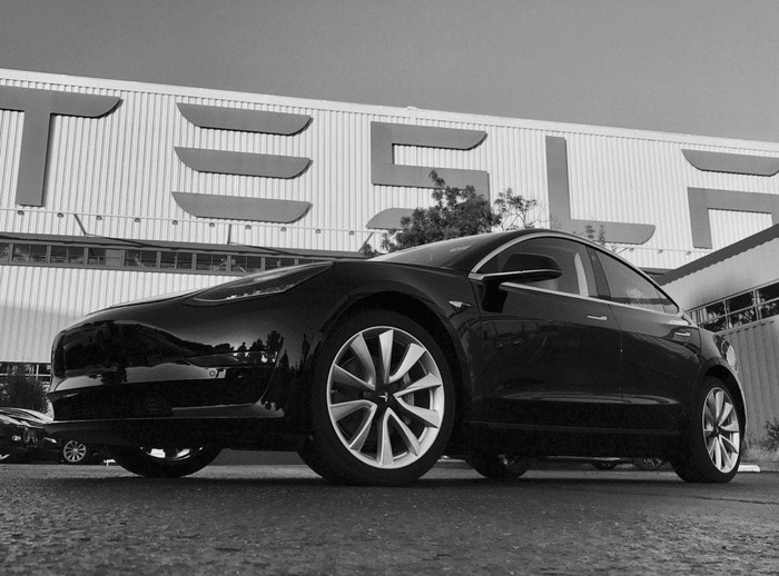 First production version of Tesla's Model 3, outside of Tesla's factory.