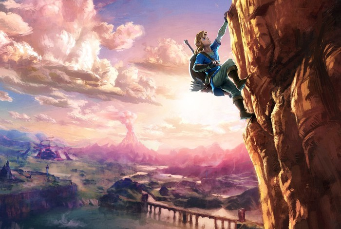"Link from ""The Legend of Zelda"" climbing a cliff."