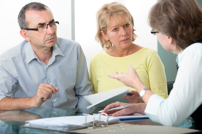 Older couple meeting with a financial advisor