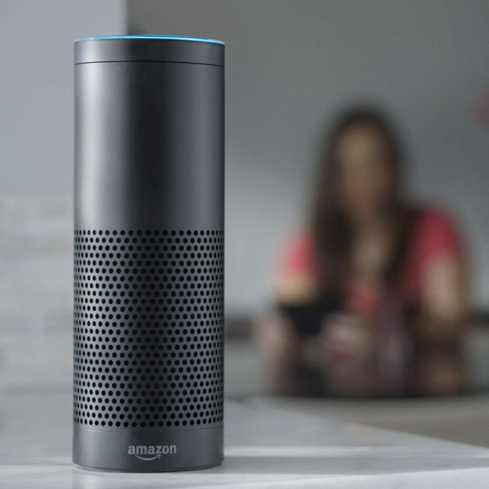 Amazon Echo with blurry image of woman in the background.