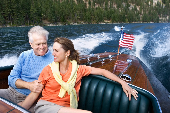 Older couple on a boat