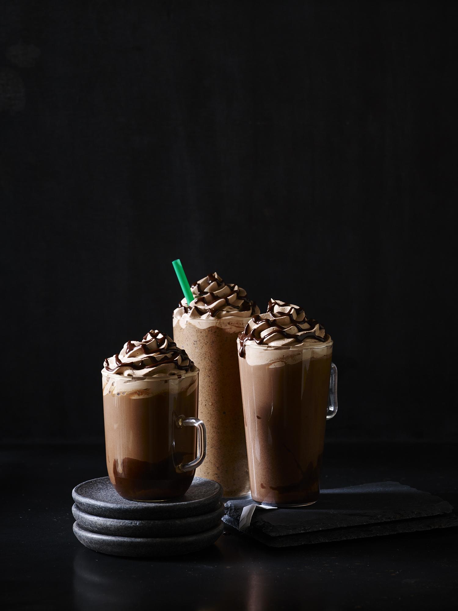 Three chocolate coffee drinks from Starbucks.