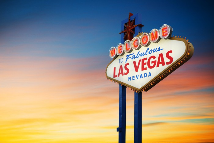 The Las Vegas sign at sunset.