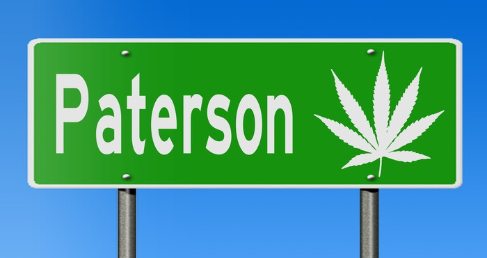Paterson, NJ sign with marijuana leaf
