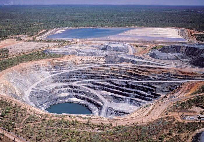 An aerial view of an uranium mine