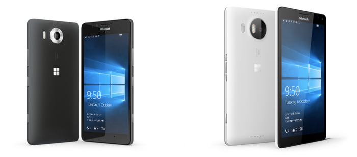 Renderings of the Lumia 950 and 950 XL