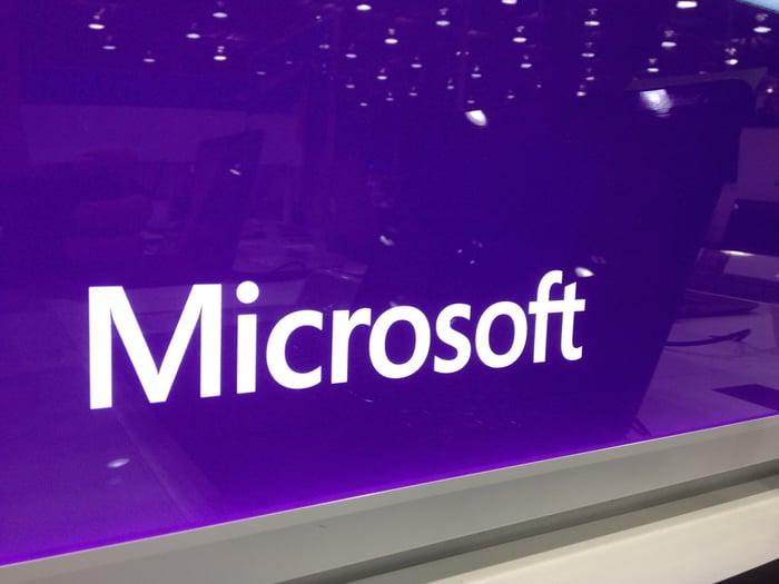 """Microsoft"" on a monitor"