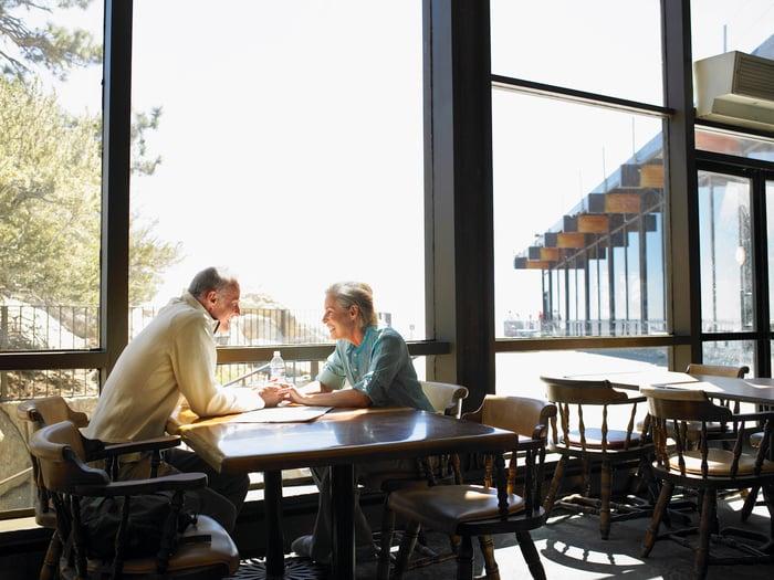 Retired couple holding hands in restaurant