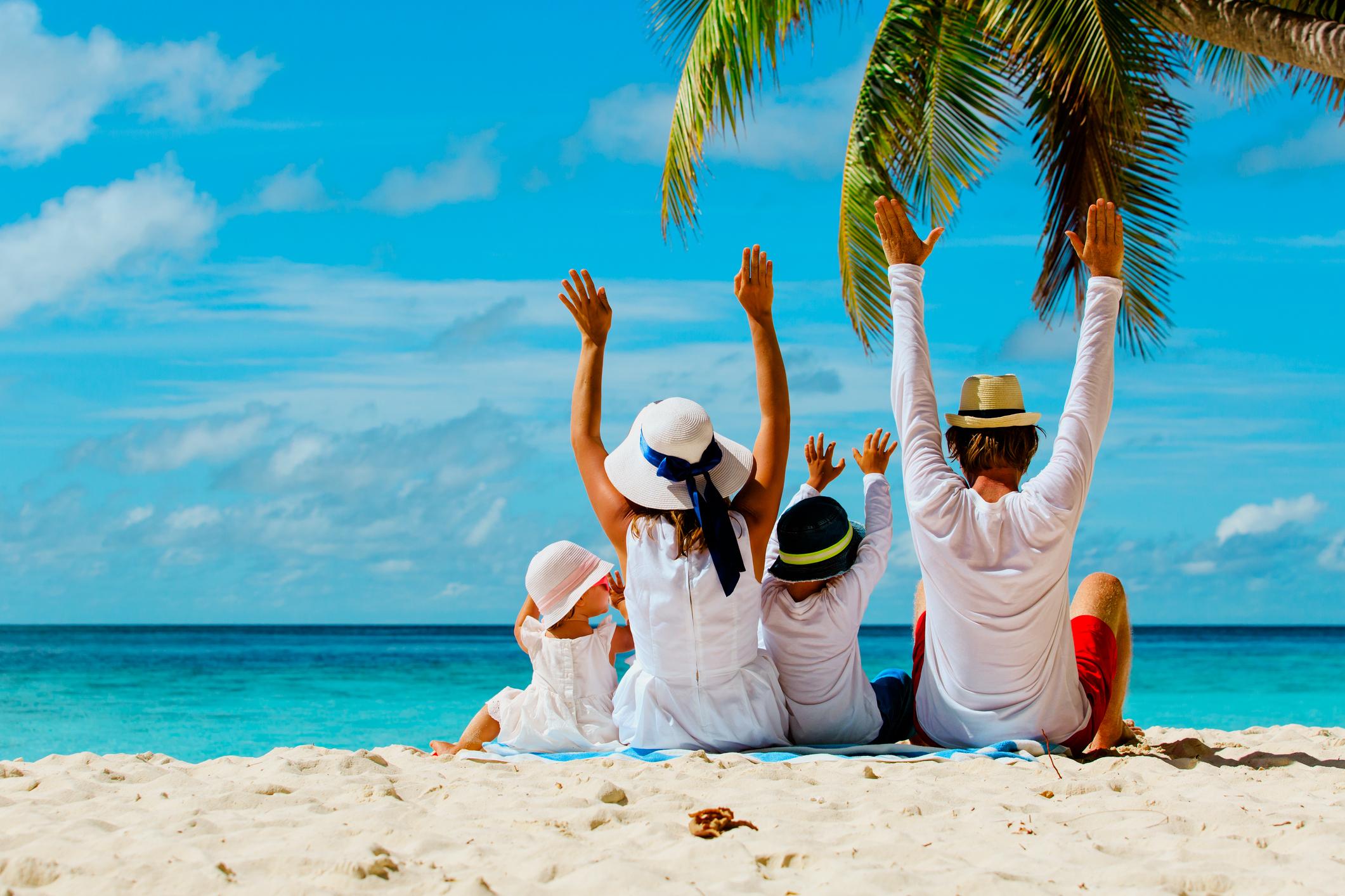 A happy family on the beach