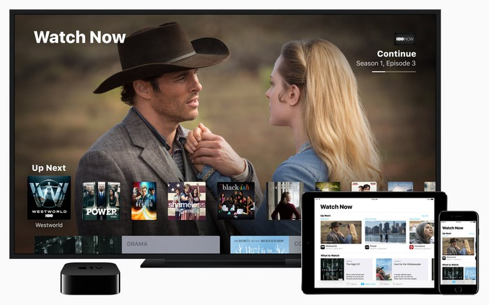 Apple TV app on TV, iPad, and iPhone.