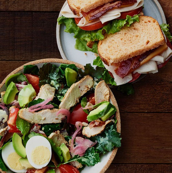 A Panera sandwich and salad