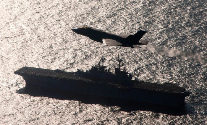 F-35 overflying aircraft carrier