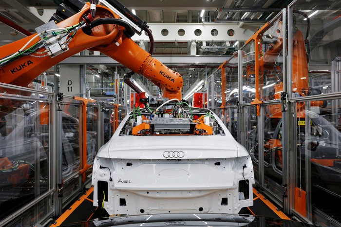 Assembly line for Audi's A8.