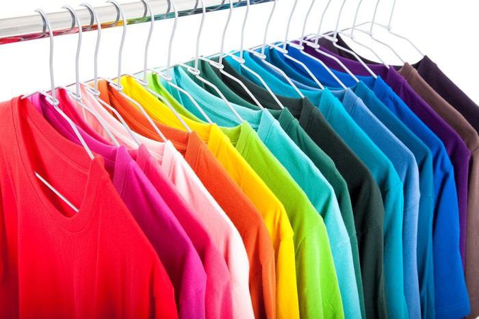 Colorful rack of T-shirts