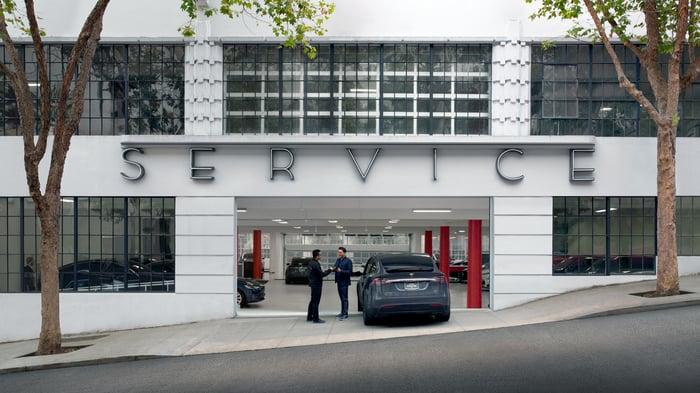 Tesla service center entrance.
