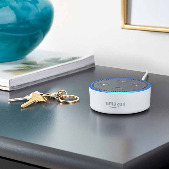 A white Echo Dot smart speaker on a shelf.
