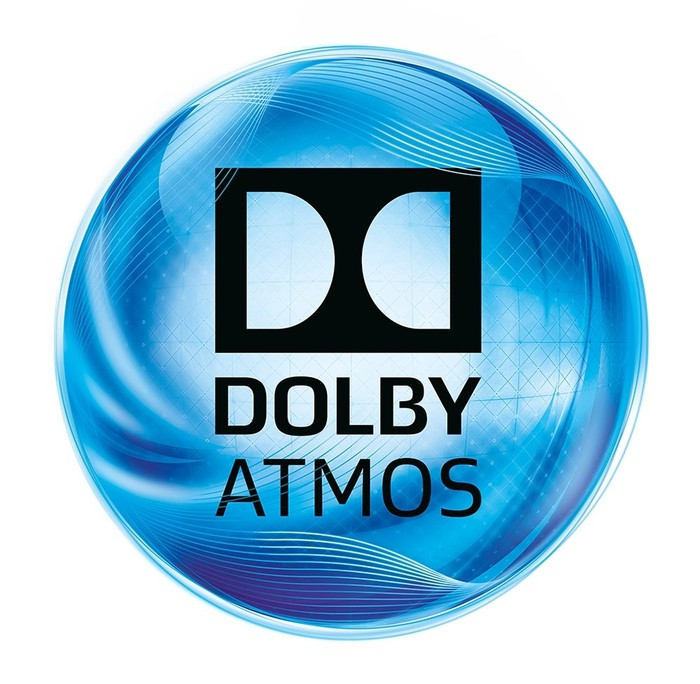 Blue swirly ball with Dolby Atmos logo.
