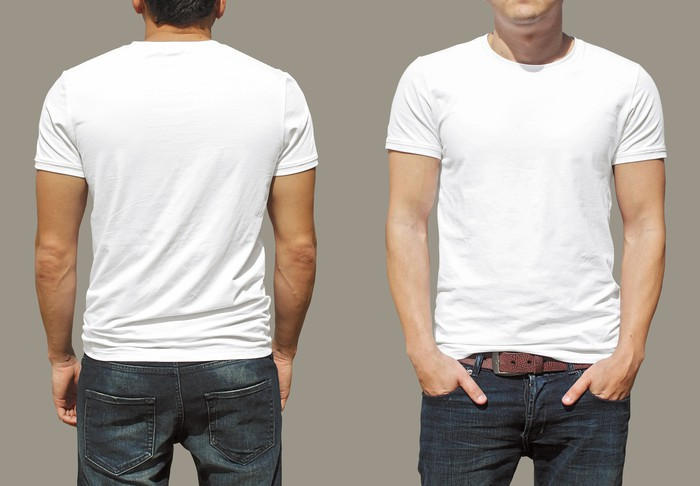 The front and back view of a man wearing a plain white t-shirt.