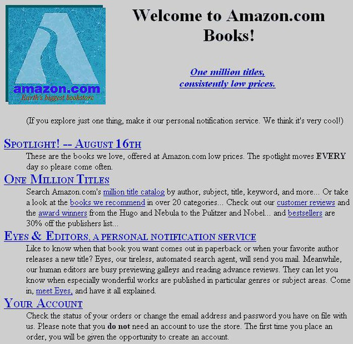 Amazon's first bookselling homepage.