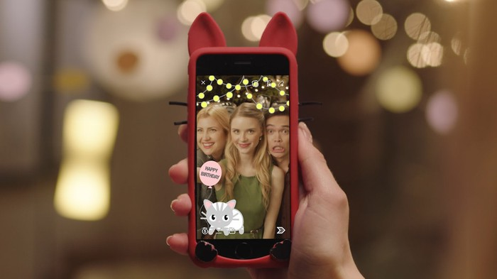 A smartphone with Snapchat app running.