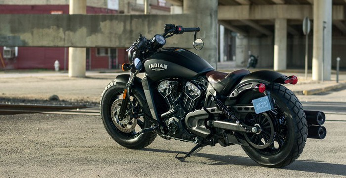 Polaris Industries' new Indian Scout Bobber motorcyle, parked