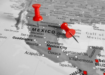 Map of Mexico With Red Push Pins