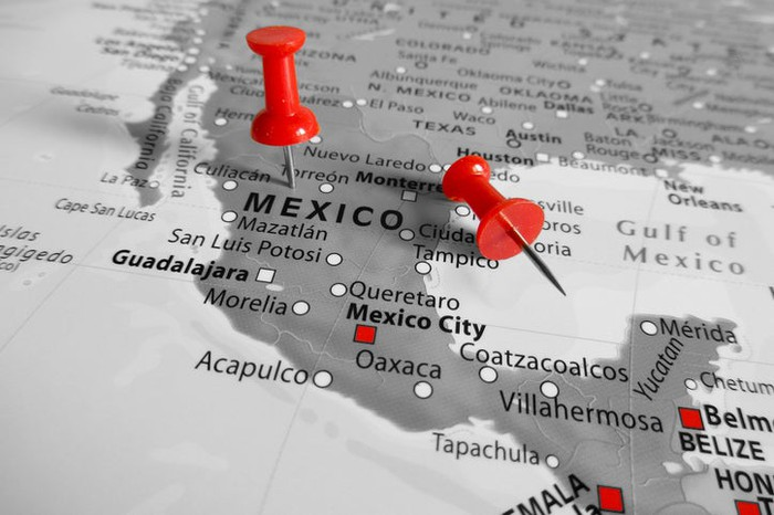 Map of Mexico with red push pins.