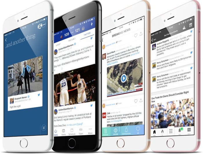 Four smartphones with Twitter app features running.