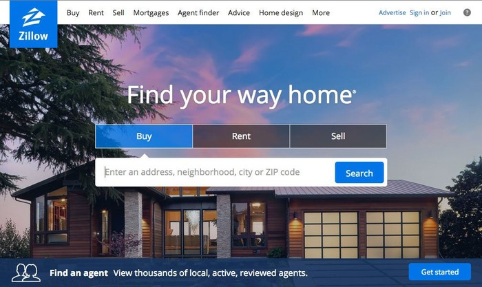 Zillow's web page showing a home.