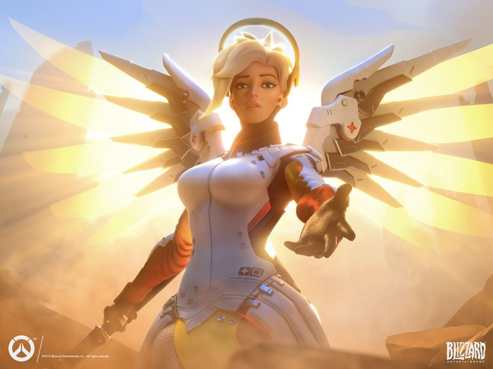 The Mercy character from Overwatch, outfitted with wings and a halo as she reaches toward the viewer.
