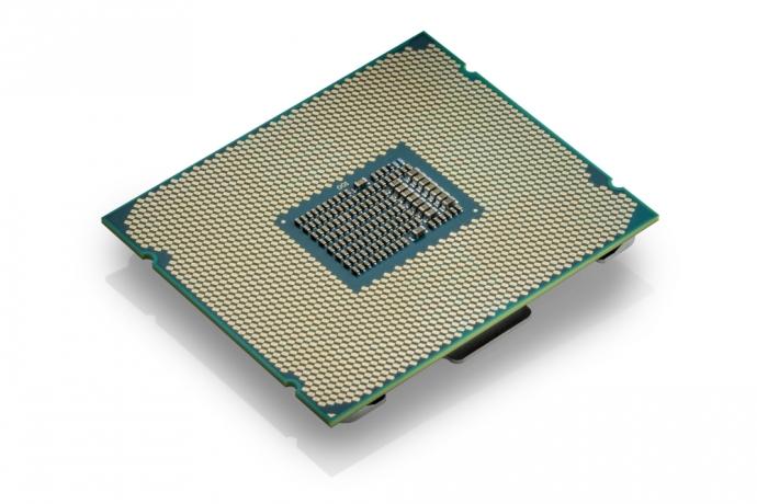 The rear of an Intel Core processor.