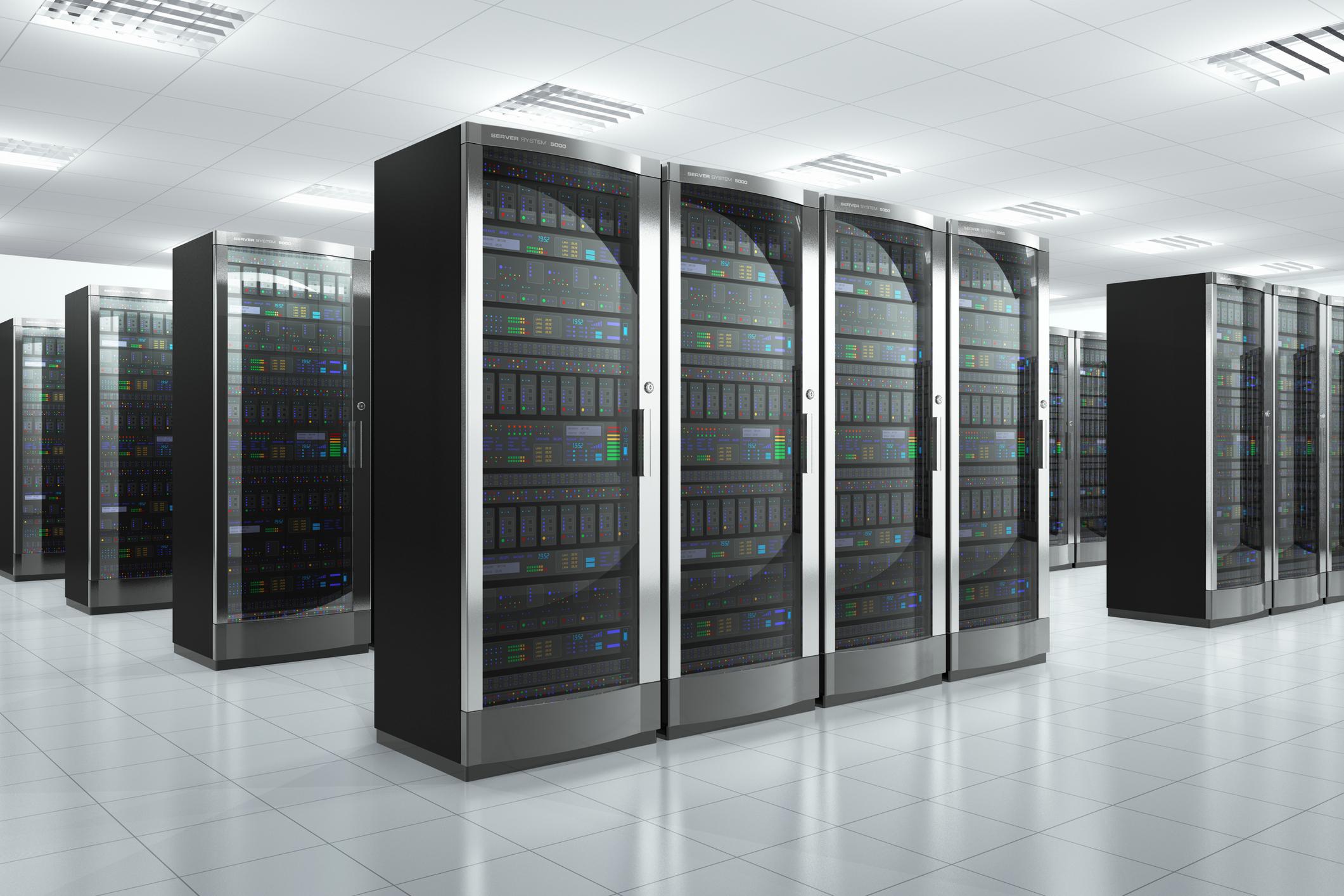 Data-center floor with several rows of server racks