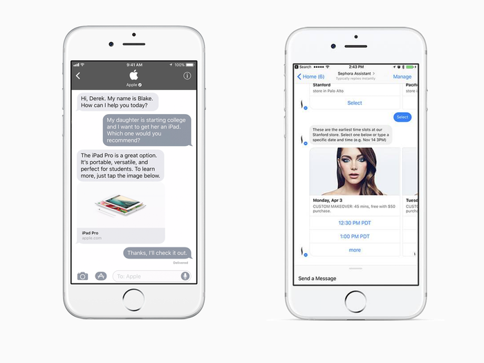 Comparison of the interfaces for Apple Business Chat and Facebook Messenger for Business