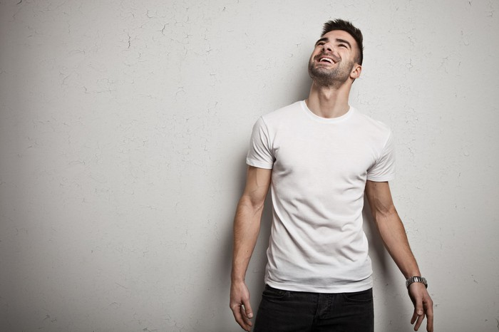 Man in cotton t-shirt