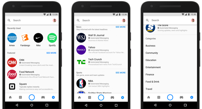 Facebook's new Discover feature in Messenger shows how users can find great new experiences