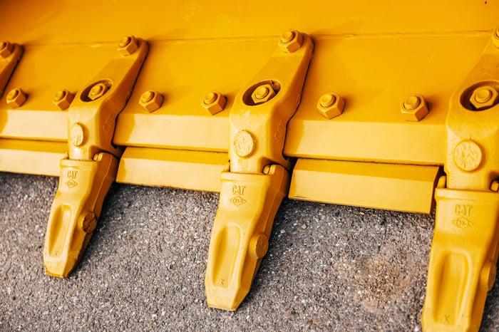 A caterpillar mining shovel
