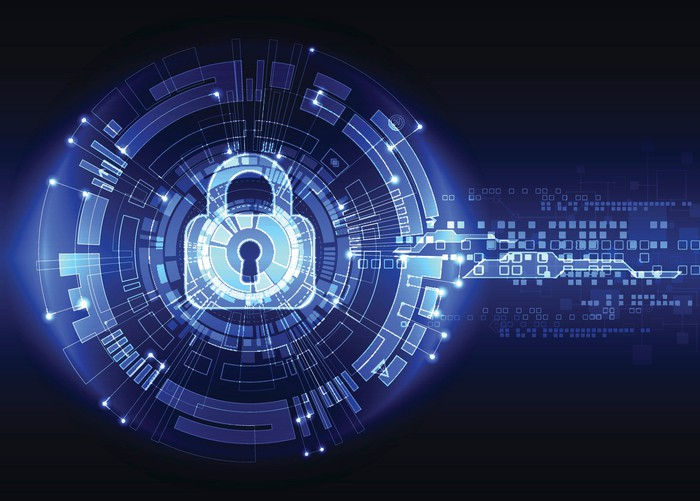 An illustration of a lock in cyber space.