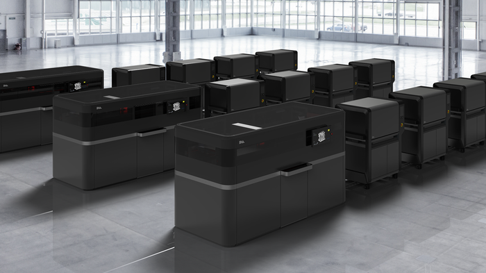 several units of DM Production System in a large room.