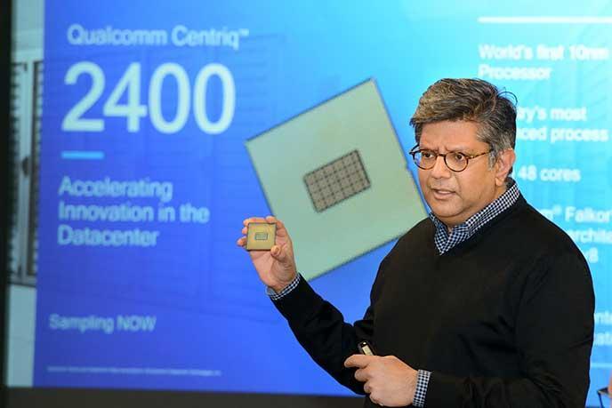 A Qualcomm exec holding a sample of the Centriq 2400 processor.