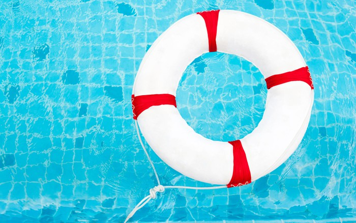 Life preserver in a swimming pool.
