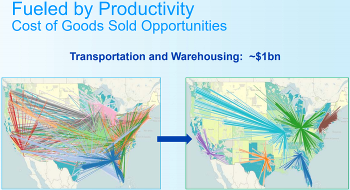 U.S. maps showing more efficient P&G transportation routes