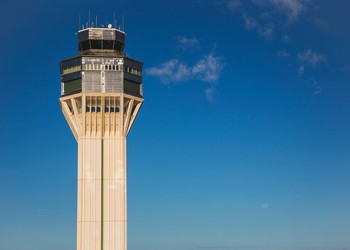 The flight tower at the Luis Muñoz Marín International Airport in San Juan, Puerto Rico.